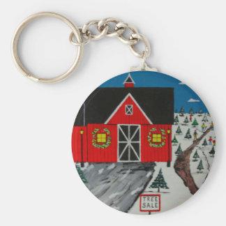 Red Barn Tree Farm Keychain