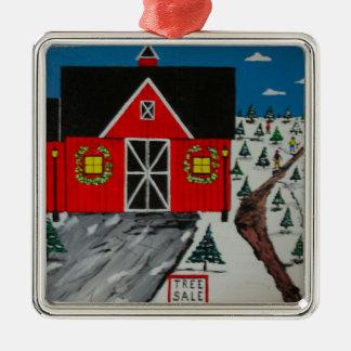 Red Barn Tree Farm Metal Ornament