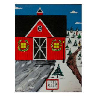 Red Barn Tree Farm Postcard