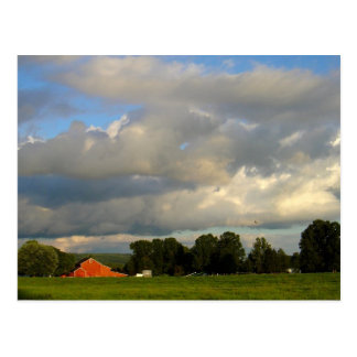 Red Barn Under the Weather Postcard