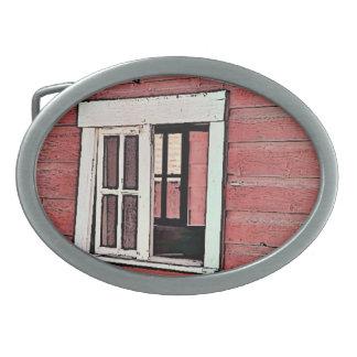 Red Barn Window Oval Belt Buckles