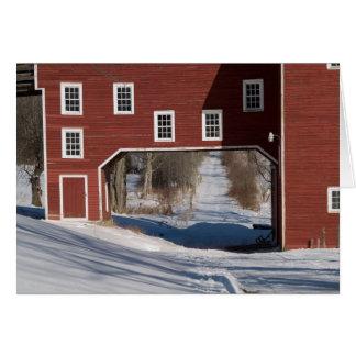 Red barn winter card