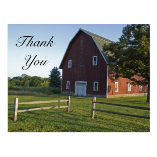 Red Barn with Fence Country Thank You Postcard