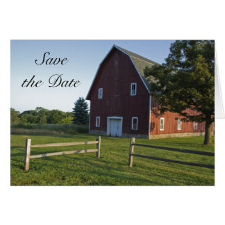 Red Barn with Fence Wedding Save the Date Card