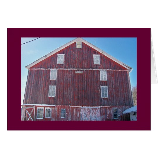 """Red Barn with Windows on the """"National Pike"""" Card"""