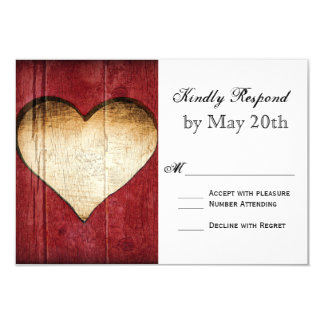 Red Barn Wood Heart Country Wedding RSVP Cards