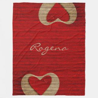 Red Barn Wood - Red Heart - BLANKET LGE
