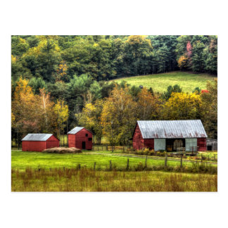 Red Barns Autumn Fall Virginia Countryside Postcard