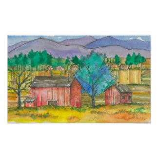 Red Barns Autumn Fields Watercolor Landscape Poster
