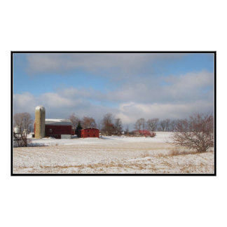 Red Barns in Winter Poster