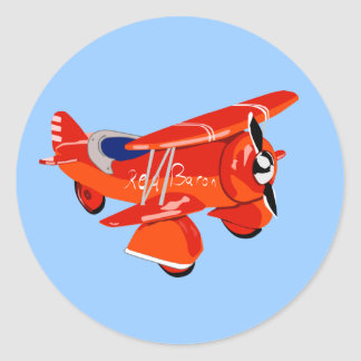 Red Baron Biplane Classic Round Sticker
