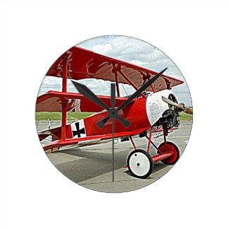 Red Baron's triplane Round Clock