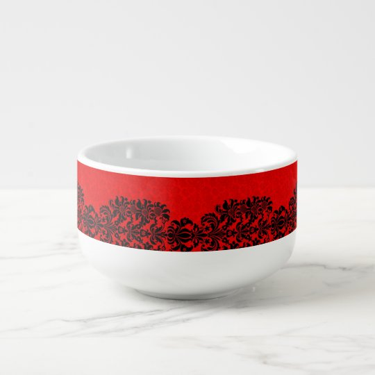 RED BAROQUE PATTERN FOR SOUP MUG