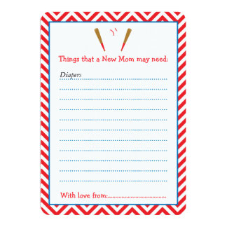 Red Baseball Advice List for New Moms Baby Shower Card