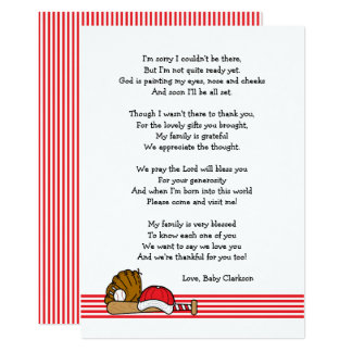 Red Baseball Baby Shower Thank you note with poem Card