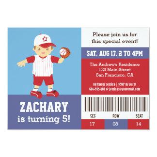 Red Baseball Boy Birthday Party Ticket Invitation