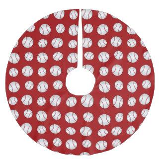 Red baseball brushed polyester tree skirt