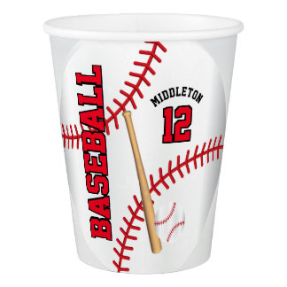 Red Baseball Design | Personalize Paper Cup