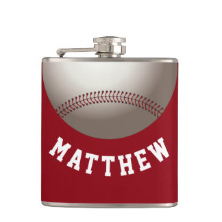 Red Baseball Personalized Name Print Hip Flask