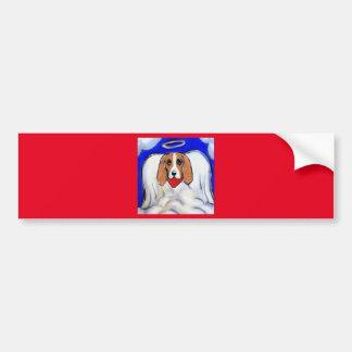 Red Bassett Hound Angel Bumper Sticker