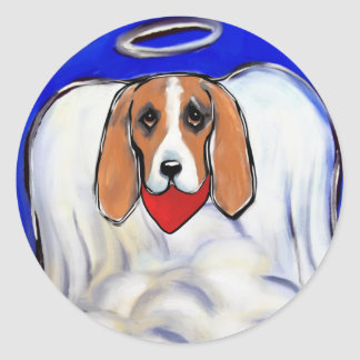 Red Bassett Hound Angel Classic Round Sticker