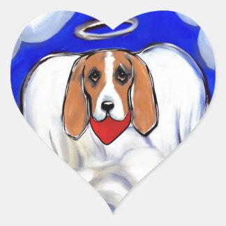 Red Bassett Hound Angel Heart Sticker