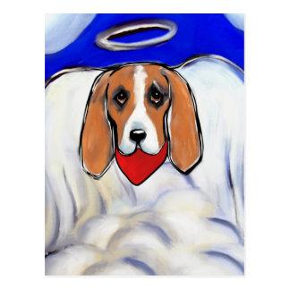 Red Bassett Hound Angel Postcard