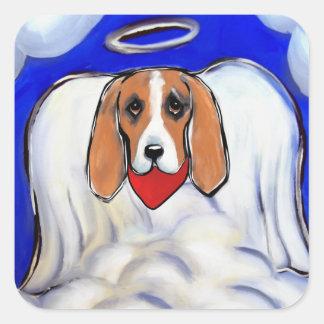 Red Bassett Hound Angel Square Sticker