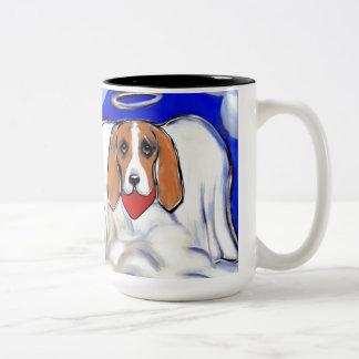 Red Bassett Hound Angel Two-Tone Coffee Mug