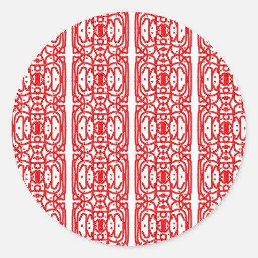 Red Batik Design Round Sticker