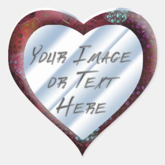 Red Batik Heart Frame Heart Sticker