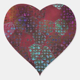 Red Batik Heart Sticker