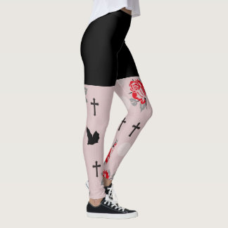 Red Bats and Roses Goth Leggings