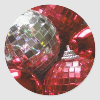 Red Baubles round sticker