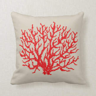 Red Beach Sea Nautical Coral Throw Pillow Decor