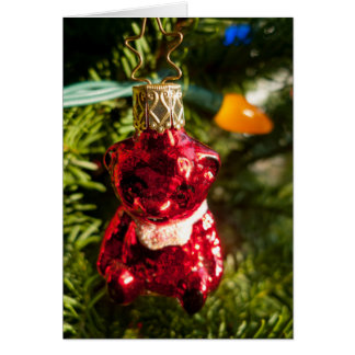 Red Bear Ornament Card