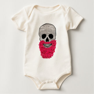 Red Beard Flower Hipster Day of the Dead Skull Baby Bodysuit
