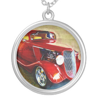 Red Beauty - Classic Collector's Car Round Pendant Necklace