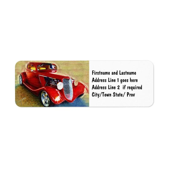 Red Beauty - Classic Collector's Car Return Address Label