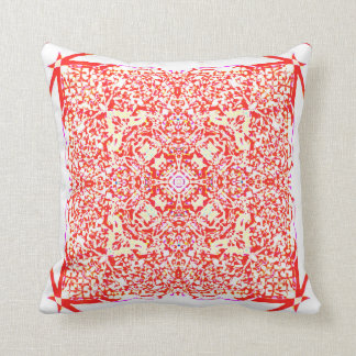 Red beauty square mandala throw pillow