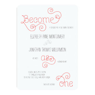 Red Become as One Curly Script Wedding Invitation