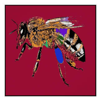 Red Bee Pop Art Poster