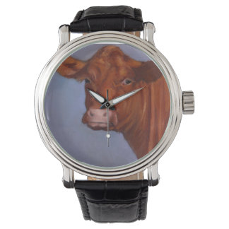 Red Beef Cow, Oil Pastel, Freehand Art Watch