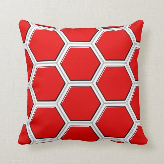 Red Beehive Pattern Throw Pillow