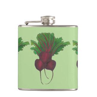 Red Beet Bunch Vegetable Garden Cooking Food Vegan Hip Flask