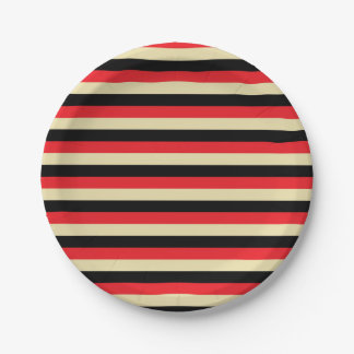 Red, Beige and Black Stripes Paper Plate
