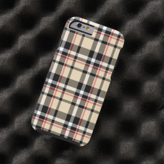 Red Beige Black White Squares Tartan Plaid Pattern Tough iPhone 6 Case
