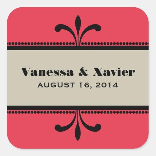 Red/Beige Fancy Art Deco Wedding Stickers