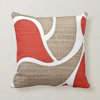 Red & Beige Throw Pillow