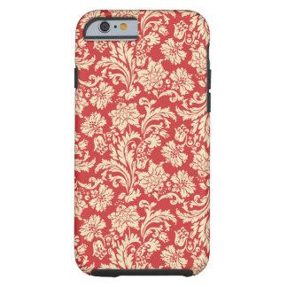Red & Beige Vintage Floral Damasks Tough iPhone 6 Case